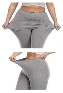VOGUEMAX Women's Capri Leggings Plus Size Stretch and Comfy High Waisted Three-Quarter Leggings Plus