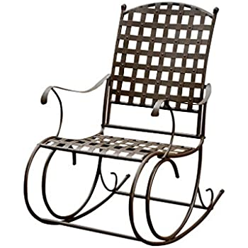 Beautiful International Caravan Santa Fe Wrought Iron Outdoor Patio Rocker