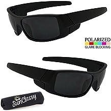 Sunclassy Mens Dark Polarized Sunglasses Anti Glare Driving Wrap Around Driving Square Frame Motorcycle Block UVA UVB UVC