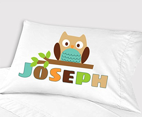 Personalized Owl Pillowcase ( Standard 20 x 26, Teal Owl ) for Kids Pillowcase for Boys Birthday or Christmas Gift by Kids-Pillowcases-By-Stockingfactory
