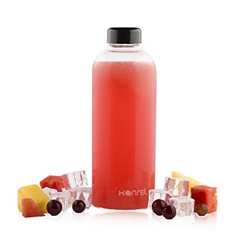 (Glass Juice Bottles 32 oz with lids (1 x Bottle) BPA Free Juicing Container for Cold Orange, Apple, Kombucha, Grapefruit, Tea, Fresh Oraganic Vegetable, Juicer Fruit, Coconut, Kefir & Essential Oils)
