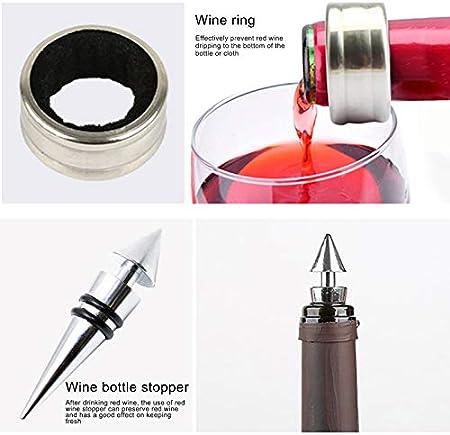 Juego de sacacorchos de vino manual, 5 piezas en forma de botella, incluye sacacorchos, anillo de vino, vertedor de vino, cortador y tapón de vino, apto para bodegas y amantes del vino
