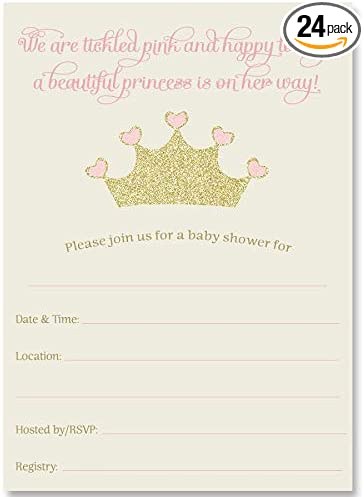 Girl Baby Shower Invitations Princess Party Supplies Decoration Invite Set of 20