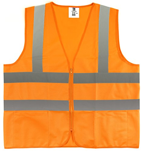 TR Industrial TR88054 ANSI Compliant Safety Vest with Pockets and Zipper, 3 X-Large, Orange