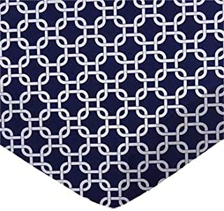 product image for SheetWorld 100% Cotton Percale Flat Crib Toddler Sheet 28 x 52, Navy Links, Made in USA