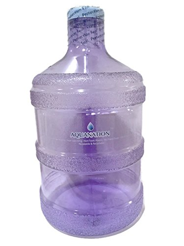 AquaNation 1 Gallon BPA FREE Reusable FDA Grade Chemical Free Plastic Drinking Water Big Mouth Bottle Jug Container with Holder Drinking Canteen (Light Purple)