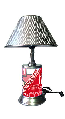 Lamp Nebraska Huskers - JS Table Lamp with Chrome Colored Shade, Nebraska Huskers Plate Rolled in on The lamp Base