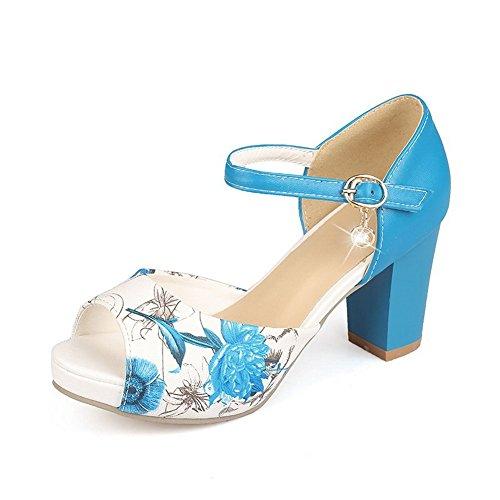 BalaMasa Womens Animal-Print Peep-Toe Soft Material Sandals Blue N9mNr3c0HX