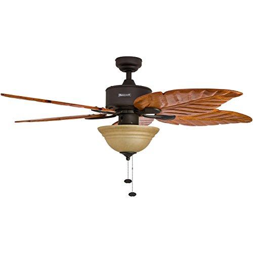 Honeywell sabal palm blades 52 inch tropical ceiling fan beachfront decor - Leaf blade ceiling fan with light ...