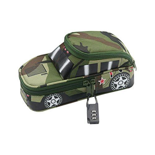 Pencil Case Army Off-Road Car Pencil Pen Punch with Lock Camouflage Middle School High School Students Stationery Organizer Zipper Bag for Highlighters Gel Pen Markers Large Capacity Pencil Pen Case by LONTG