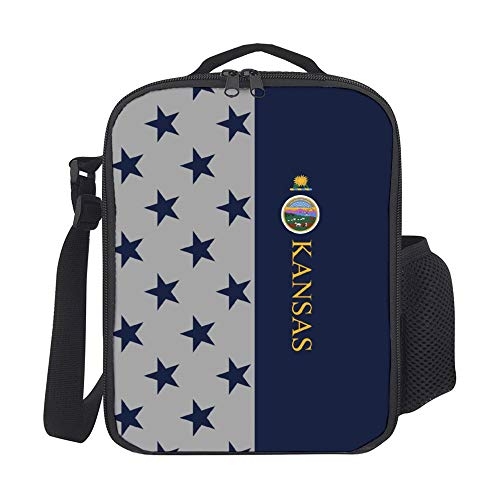 SARA NELL Kids Lunch Backpack American Kansas Flag Lunch Bag Lunch Box Cooler Meal Prep Lunch Tote With Shoulder Strap For Boys Girls Teens Women Adults