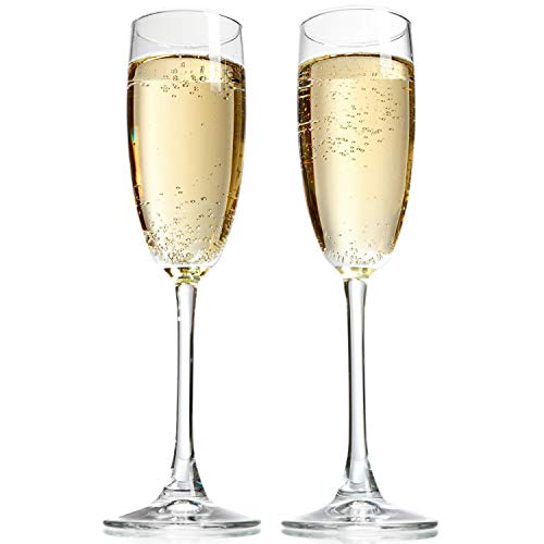 Cheap Taylor'd Milestones 8 oz Champagne Flutes. Set of 2 Crystal Clear Champagne Glasses Made in USA. Perfect size for all Sparkling Wines and Bubbly Beverages.