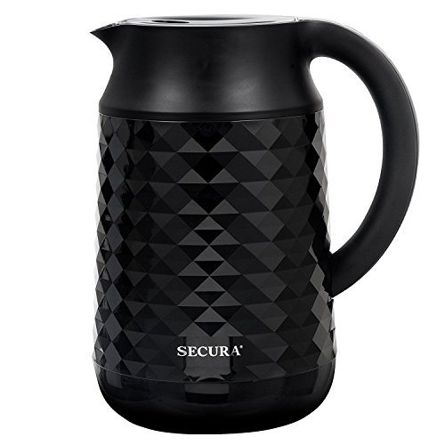 Secura Cool Touch Precise Temperature Control 1.8Qt (7 Cups) Electric Water Kettle (Black) | 1500W Strix Controls | Float Valve Technology | Quick Boil | 8 Pre-sets (Black) (Off Wall Control Instant)