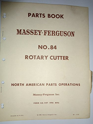 Massey Ferguson MF 84 Rotary Cutter Parts Catalog Book Manual Original 4/61