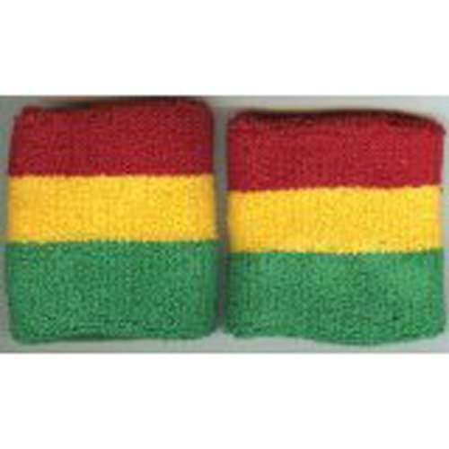 Striped Wristbands Pair - Green Red Gold Band