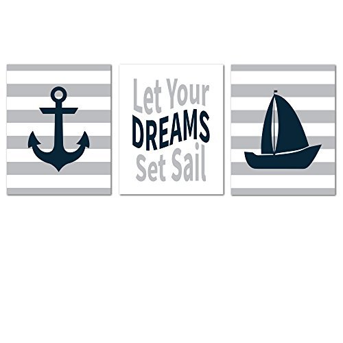 Sailboat Toddler Bedding (Nautical Nursery Prints for Baby Room Decorations - NO FRAMES OR MATTING)