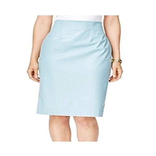 Alfani Atlas Women's Faux Leather Straight Pencil Skirt Blue 6