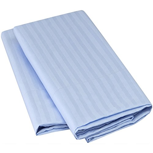 Harmony Linens Striped Pillowcase Set - 1800 Double Brushed Microfiber Bedding - Deep Pocket, Hypoallergenic - Wrinkle, Fade, Stain Resistant Sheets (Set of 2 Standard Size, Light Blue) - Linen Striped Pillow