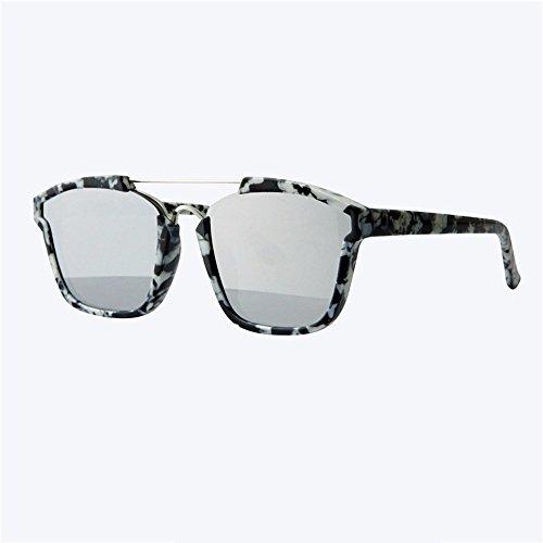 chica cuadrada Amarillo Gris hombre gafas plana película caja Gran de reflectante sol sol de de gafas XIAOGEGE color EnZqaxx