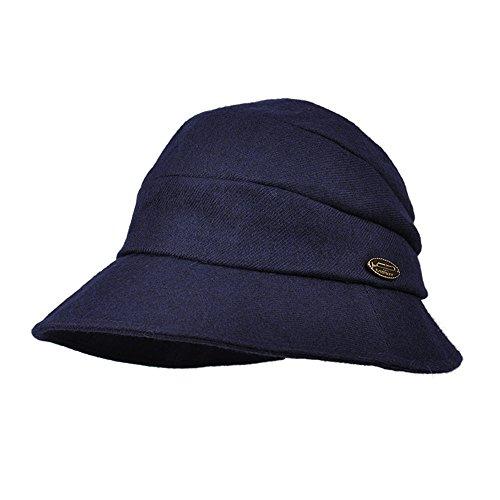 Kenmont Women's Bucket Hat Elegant Wool Cloche Winter Hats Short Brim Slouchy Fedora Cap (Navy Blue)