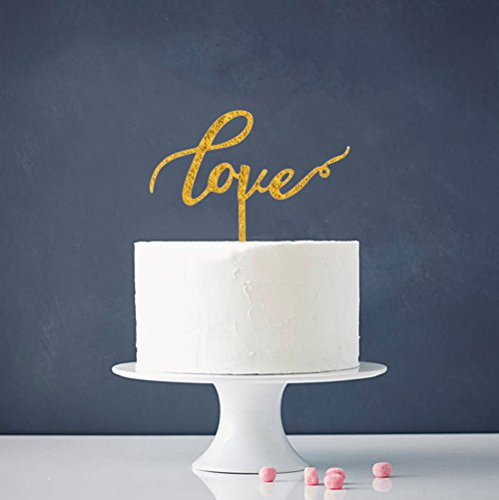 INNORU-Love-Cake-Topper-Double-Sided-Gold-Glitter-Wedding-Cake-Decoration