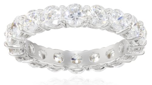 (Platinum-Plated Sterling Silver All-Around Band Ring set with Round Swarovski Zirconia (3 cttw), Size 8)