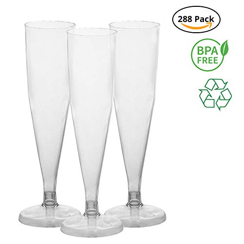 Party Joy [288Ct] Plastic 6-oz Champagne Flutes,(Pack of 288)   BPA Free-Flutes  Heavy Duty Premium Plastic Champagne Flutes for Wedding, Parties & More