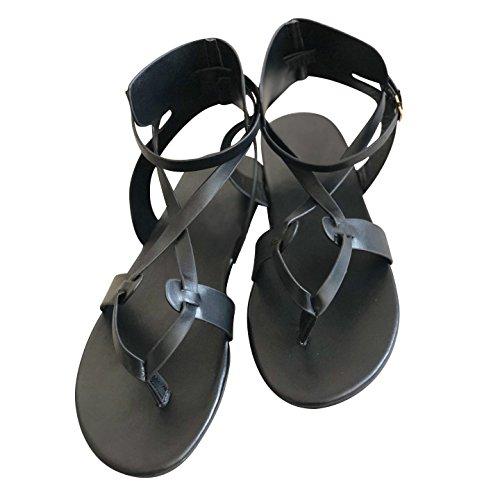 flacher 4 Schwarz aushöhlen T Womens Niedriger 8 Boho Sommer Sandalen Damen Hibote Absatz FLA Bar Sandalen Sandalen Riemchen O0qTZwT