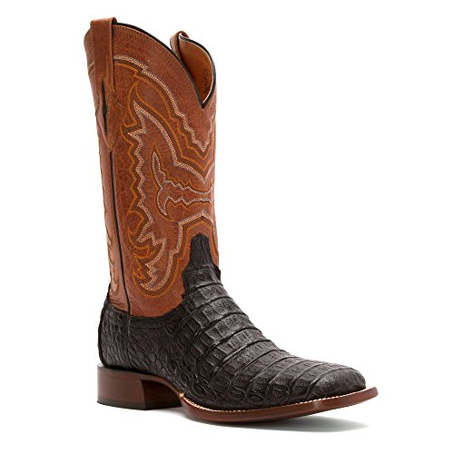 Lucchese Hombre Mano 1883hornback Caiman–Cowboy Boot Square Toe Chocolate