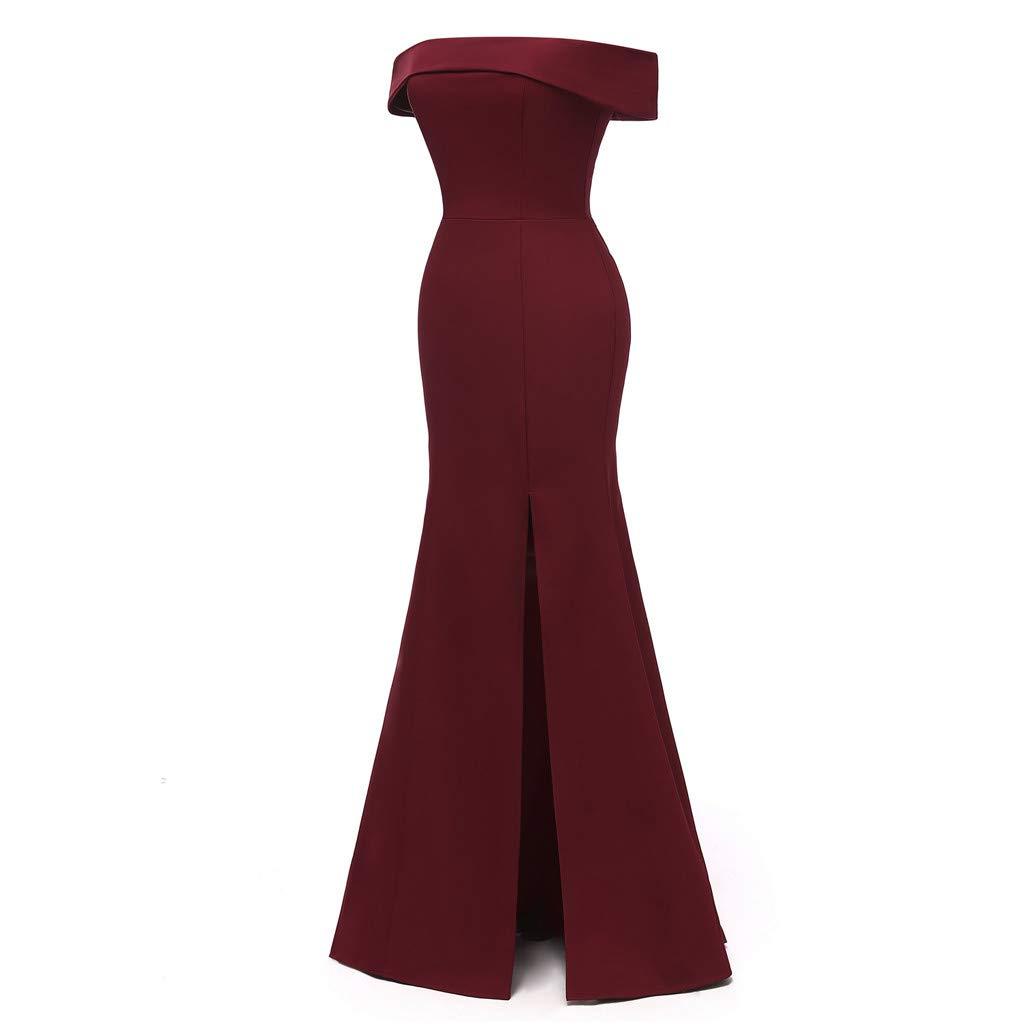 Long Maxi Dresses for Women Solid Off Shoulder Bodycon Split Evening Party Long Dress (Wine,M)