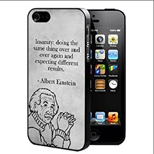 Albert Einstein Expecting Different Results Quote With Black And White Background (iPhone 5 5s)