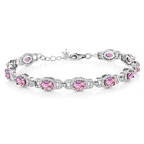 (Gem Stone King 925 Sterling Silver Pink Sapphire Bracelet, 7 Inch Bracelet With 1 Inch Extender, 9.65 Ctw Oval)