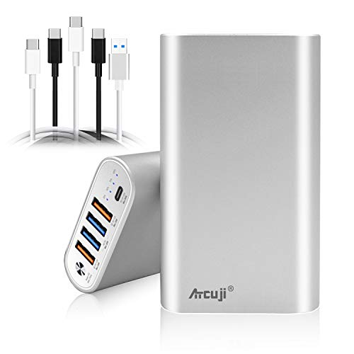 Atcuji 98PD 26800mAh USB-C Power Bank 150W 90W 87W Power Delivery for MacBook Pro PD USB C External Battery Surface Book 2 Pro X 7 Portable Charger HP Dell Razer Lenovo Asus laptop tablet TSA Approved