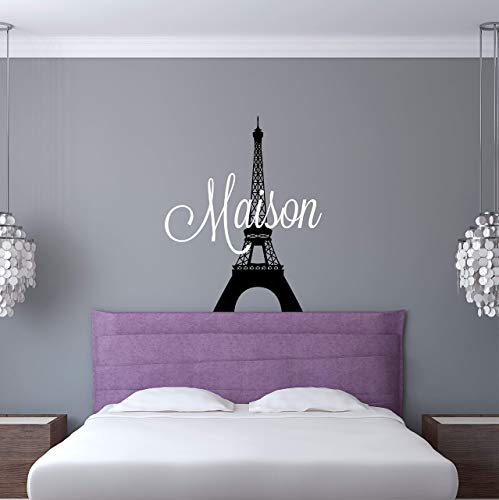 (Custom Name Paris Wall Decal - Girls Personalized Name Eiffel Tower Wall Sticker - Custom Name Sign - Custom Name Stencil Monogram - Girls Room Wall Decor)