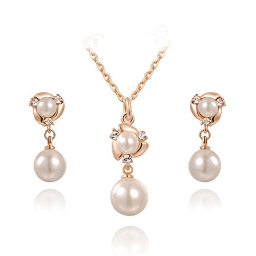 Angelady White Pearl Earring and Necklace Sets 18k Rose Gold Plated Wedding Engagement Jewelry Sets (Engagement Necklace White)