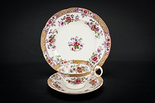 4 Persons Unusual Antique TEA SET Floral Pottery Saucer Plate High Victorian Cup Old Red Mid 19th Century English LS