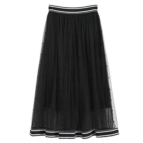 Rtro Noir Impression Plage Femme Bohme Longue Point Yiiquan Maxi Robe Pliss Jupe Vintage vwpxwFZq7