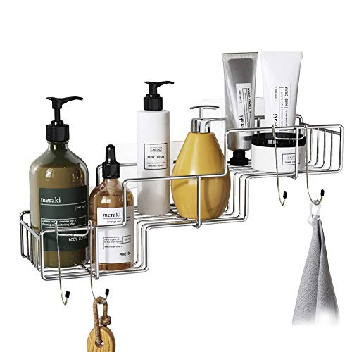 VIAV Adhesive Shower Caddy with Hooks Stainless Steel Wall Mounted Bathroom Shelf Storage Organizer No Drilling Basket, Rustproof