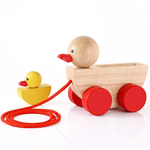 Babe Rock Baby Toys for 1 2 3 Year Old Gifts Wooden Ducks Pull Toy Set 2 Gift for Girls Boys Toddlers Kids]()