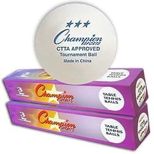 Champion Sports 3 Star White Table Tennis Balls Competition Ping Pong Balls (6 Balls)
