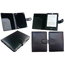 Emartbuy® Nook GlowLight Plus eReader 6 Inch Black PU Leather Wallet Case Cover Sleeve Folio