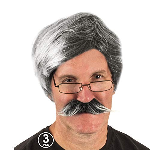 He Man Wig (Tigerdoe Old Man Costume - Dress Up Set, Grey Wig, Mustache, Grandpa Glasses - Grandpa Costume (3 Pc)