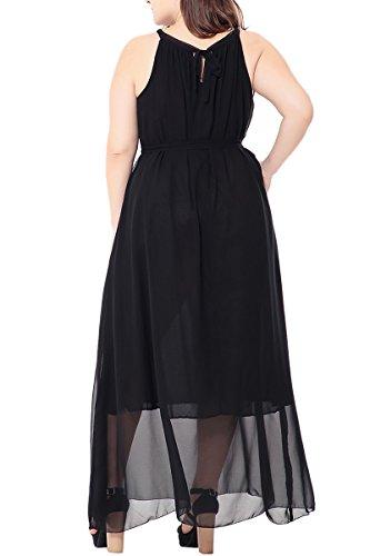 Maxi Robe De Taille Plus Des Femmes Demetory, Sans Manches En Mousseline De Soie Robe De Plage D'été Plaine (m 6xl) Noir