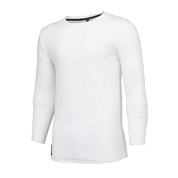 Mymyguoe Hombres otoño Invierno algodón Camiseta Deporte Blusa de Manga Larga Top para Ejercicio Gimnasio Cruzado Correr Baloncesto Jogging: Amazon.es: Ropa ...