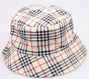 New Plaid Fashion Bucket Cap Unisex Summer Beach Sun Soft Hat Flat Top Cap