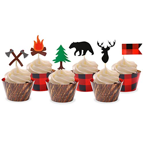 Levfla Camping Cupcake Toppers Wood Grain Buffalo Plaid