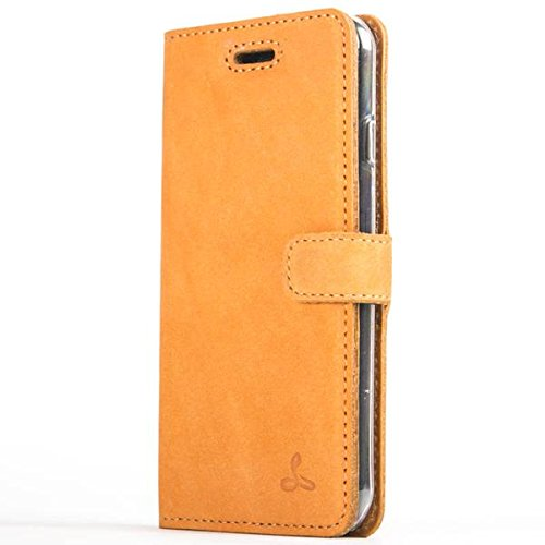 Snakehive iPhone 8 Plus Case, Genuine Leather Wallet with Viewing Stand and Card Slots, Flip Cover Gift Boxed and Handmade in Europe for iPhone 8 Plus - (Burnt Orange)