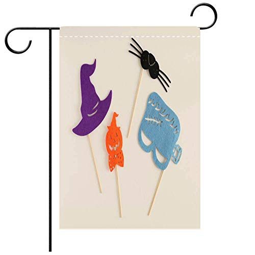 BEICICI Double Sided Premium Garden Flag Photo Booth Colorful Props for Halloween Party Witch hat Monster Shaped mask Pumpkin Shaped tie Cat Mustache Best for Party Yard and Home Outdoor Decor]()