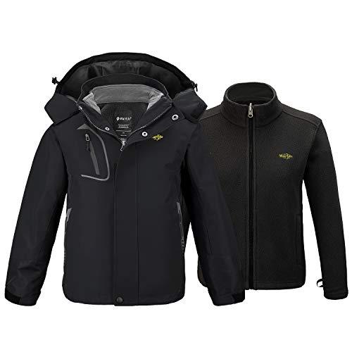 Wantdo Boy's 3 in 1 Snowboard Hooded Jacket Warm Winter Hiking Coat Black 10/12 (10 12 Boys Winter Coats)