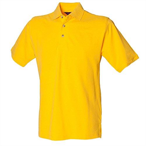 Henbury Klassisches Polo mit Stehkragen Gelb 2XL